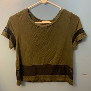 Dark green shirt with mesh sequence